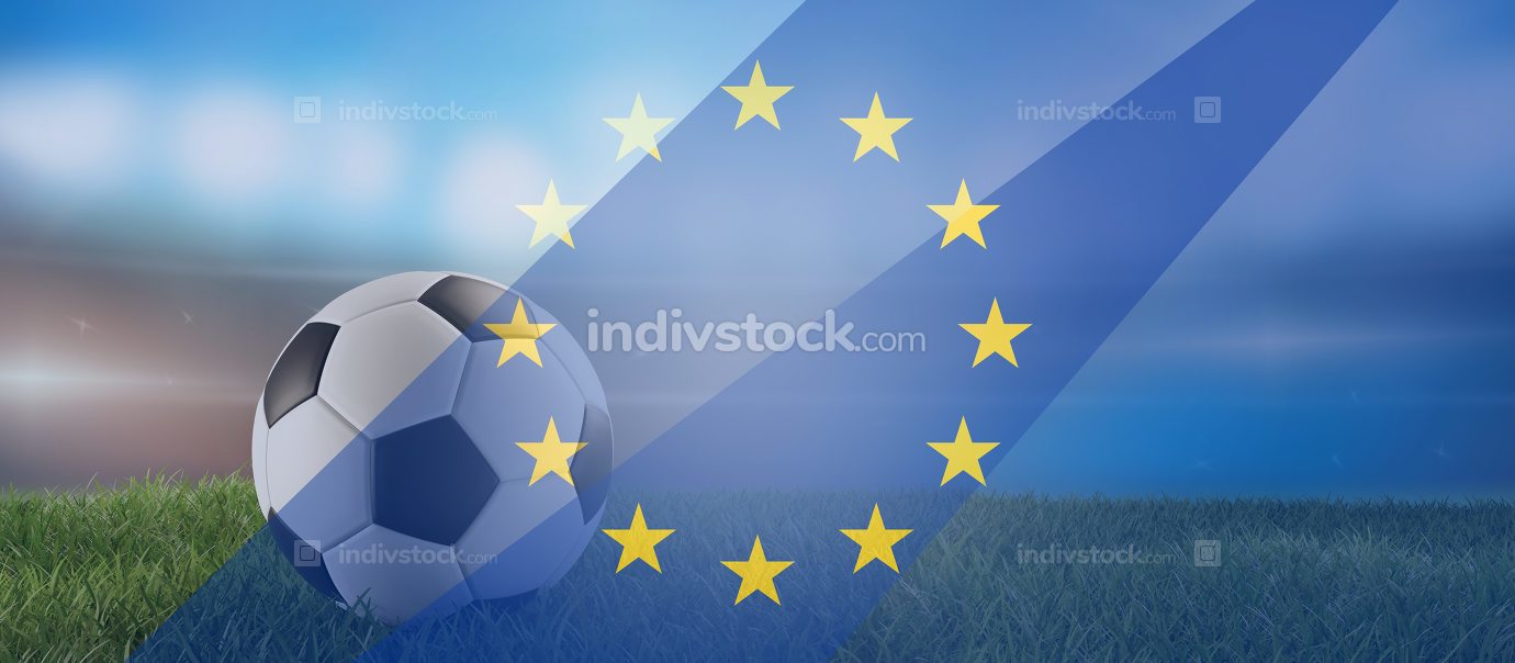 free download: soccer ball and Europe overlay background 3d-illustration