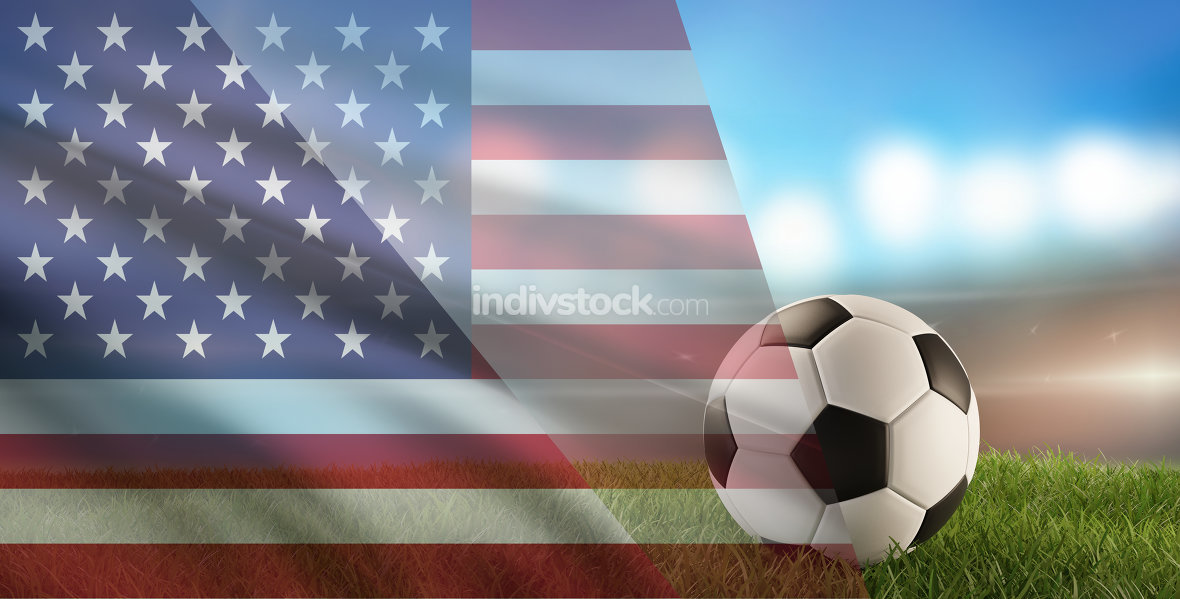 free download: soccer ball background with flag of America 3d-illustration