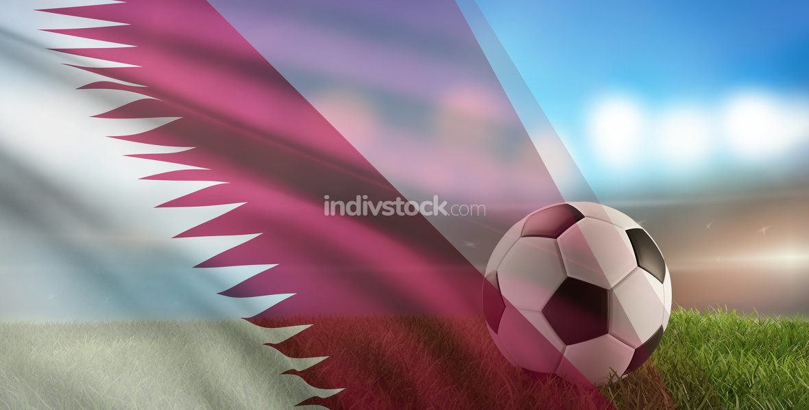 free download: soccer ball background with flag of Qatar 3d-illustration