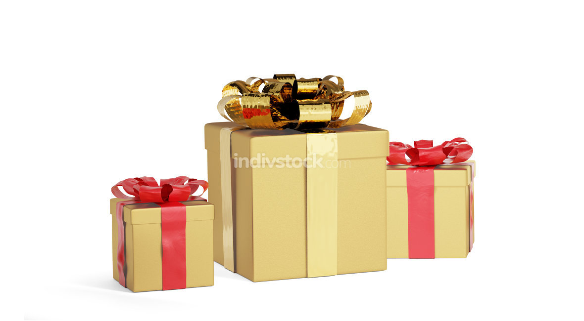 golden presents for christmas or birthday 3d-illustration