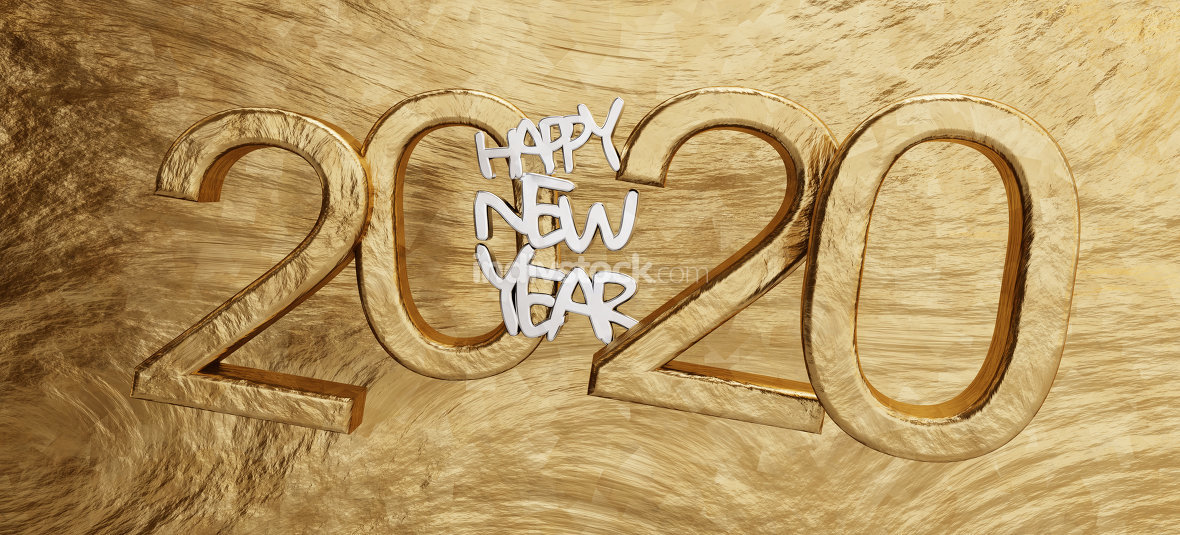 happy new year 2020 golden background bold letters 3d-illustrati