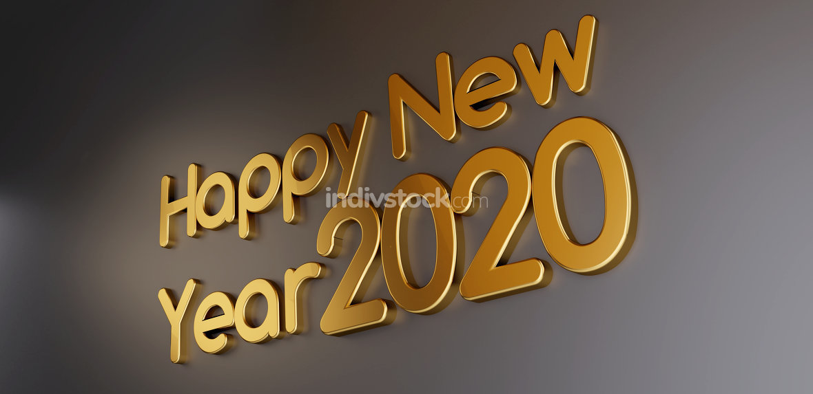 happy new year 2020 golden bold letters 3d-illustration