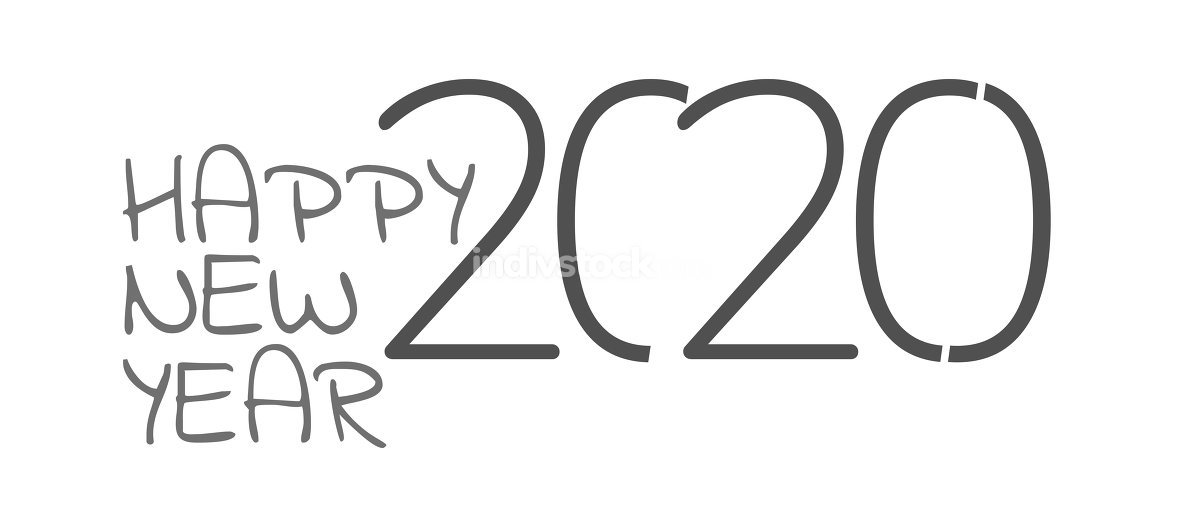 happy new year 2020 isolated 3d-illustration