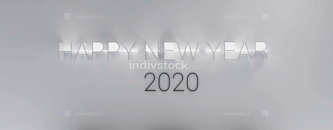 happy new year 2020 thin letters background 3d-illustration