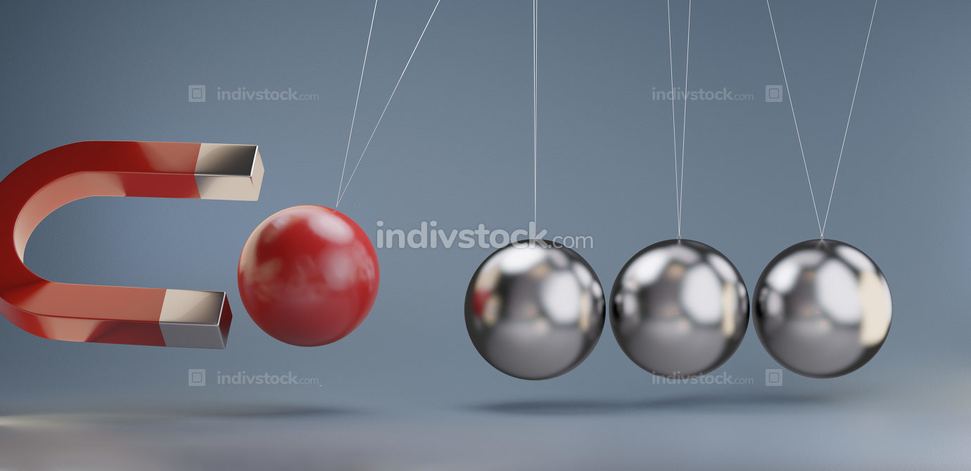hold back a sphere with a magnet 3d-illustration