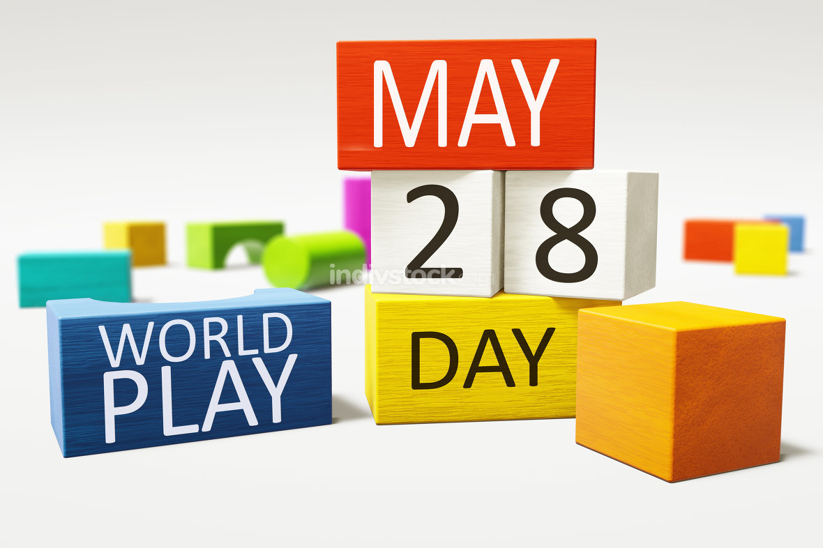 International World Play Day 28th of May with colorful building