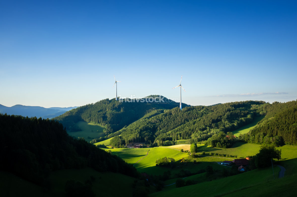 landscape with wind energy in the black forest area Germany