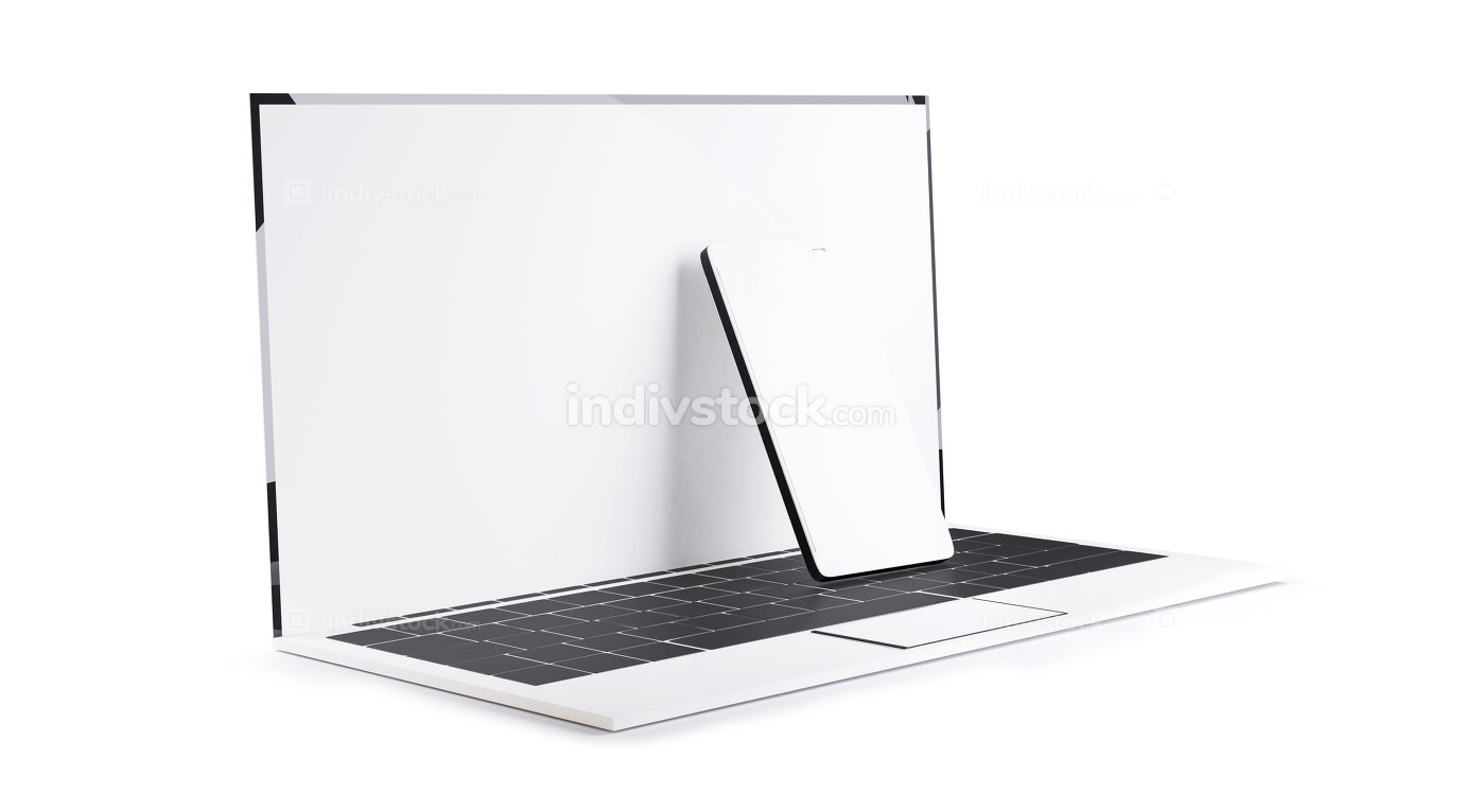 laptop computer and cell phone 3d-illustration white design
