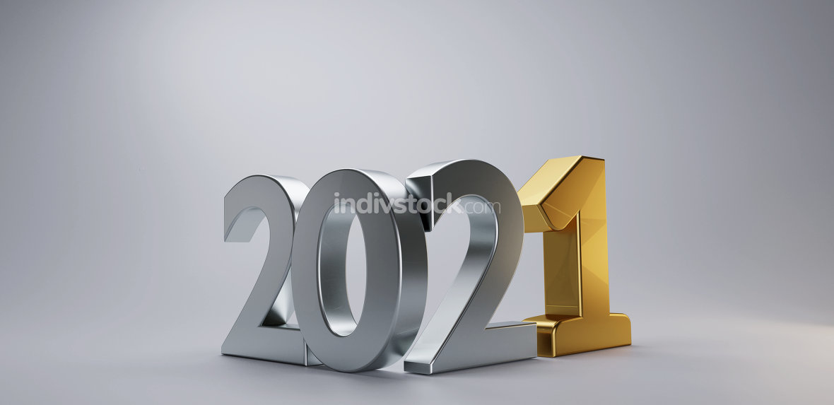 new year silver golden 2021 3d-illustration isolated on light gr