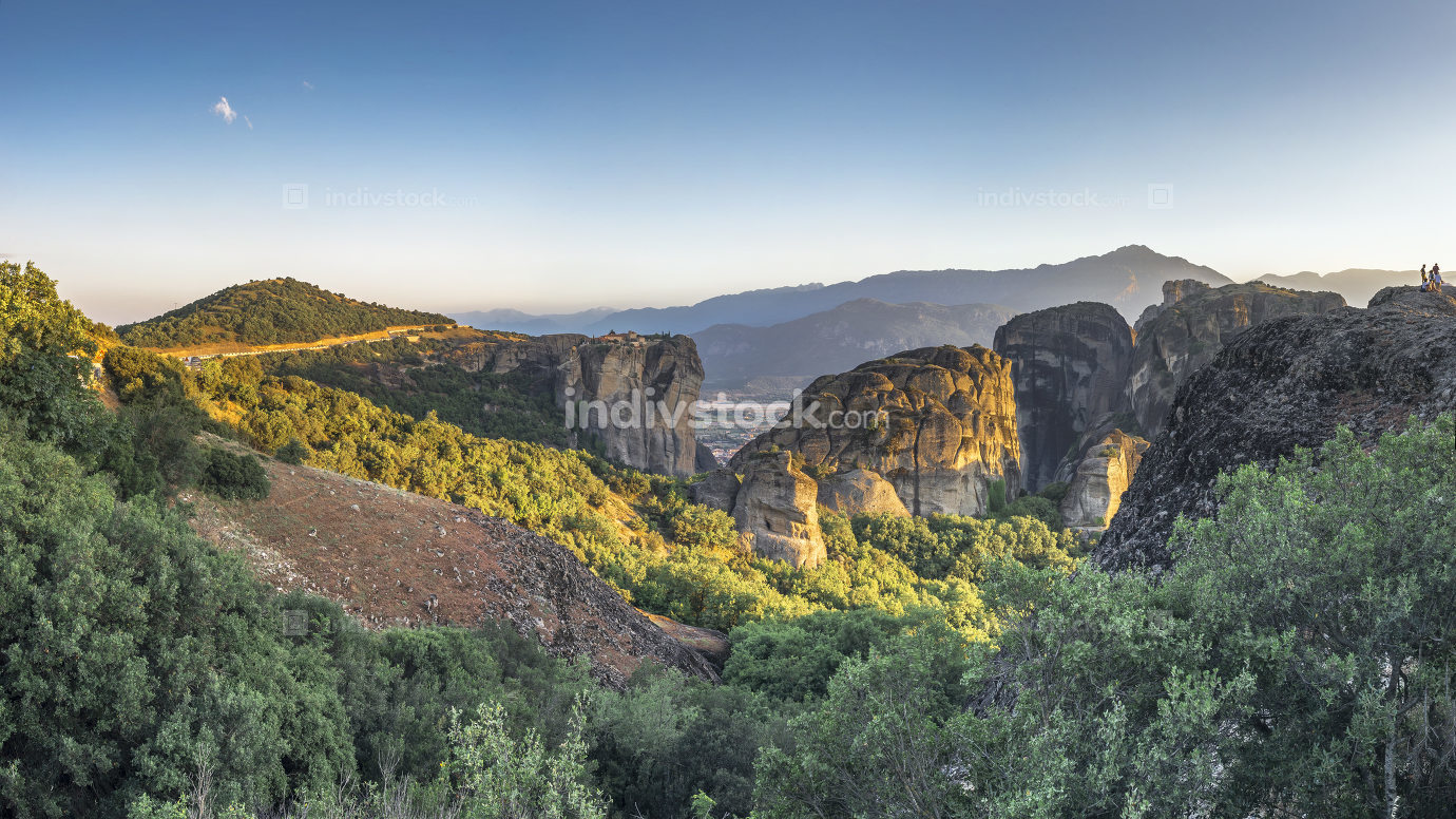Panoramic view of the monasteries of Meteora at sunset