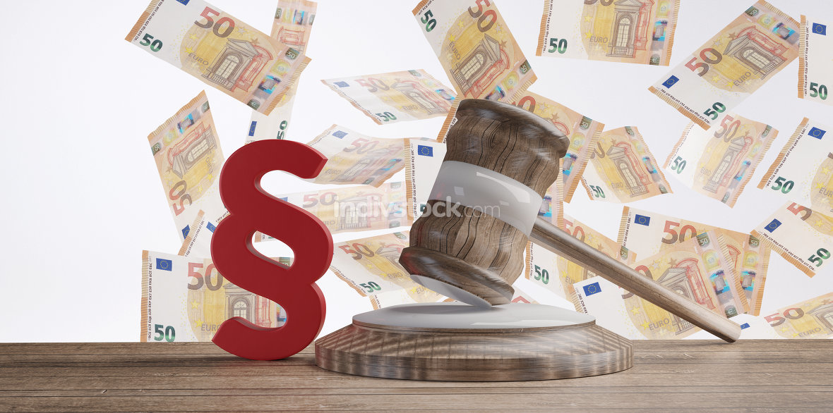 paragraph and judge gavel in front of a money rain with fifty Eu