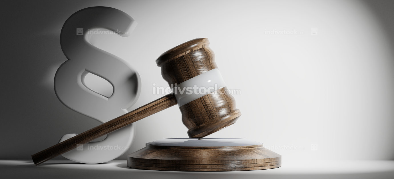 paragraph and wooden judge gavel 3d-illustration