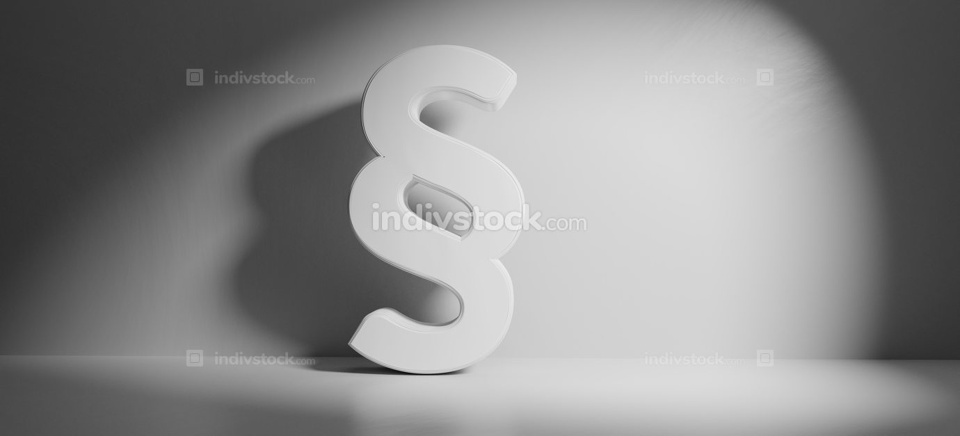 paragraph symbol white background 3d-illustration