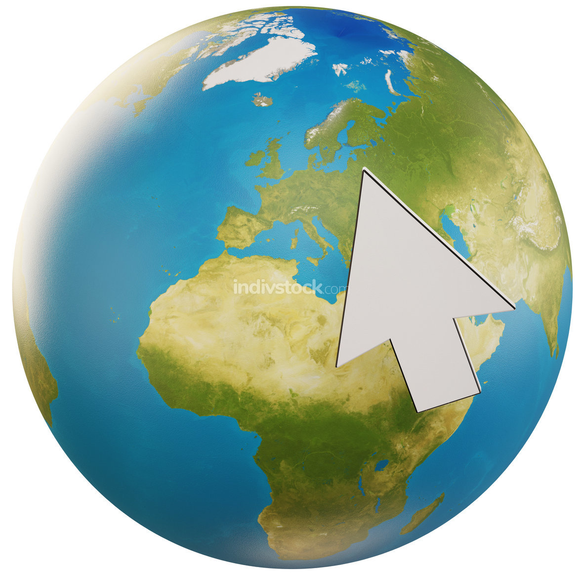 planet earth globe with cursor 3d-illustration. elements of this