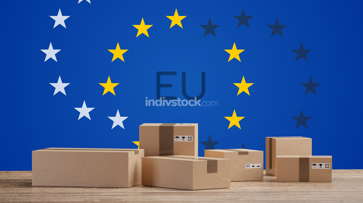 postal packages in front of a creative Europe flag background 3d