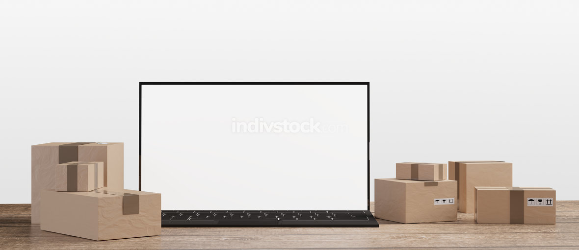postal packages next to a computer 3d-illustration