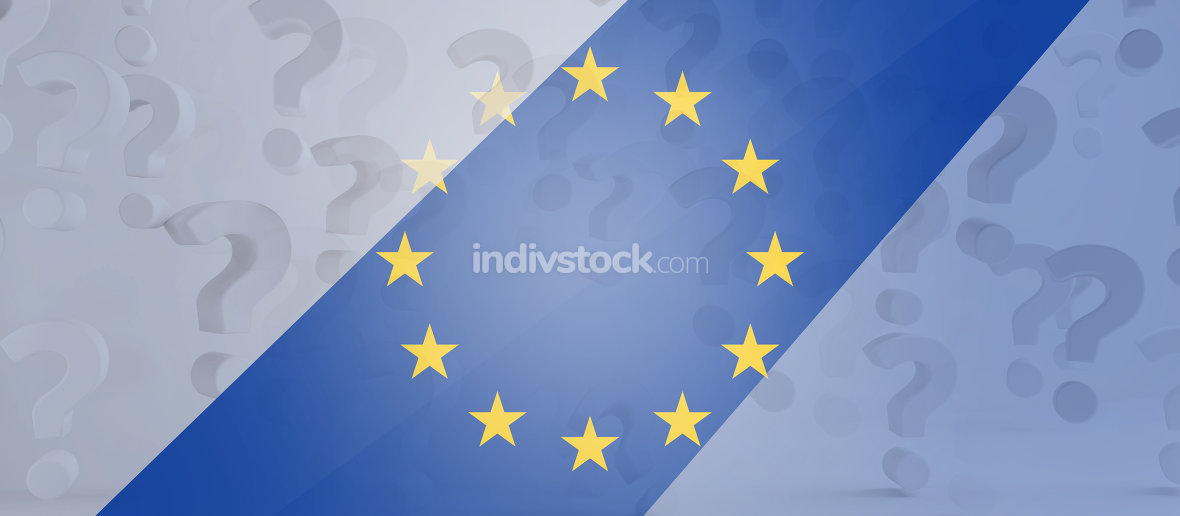 question marks and Europe symbol background creative 3d-illustra