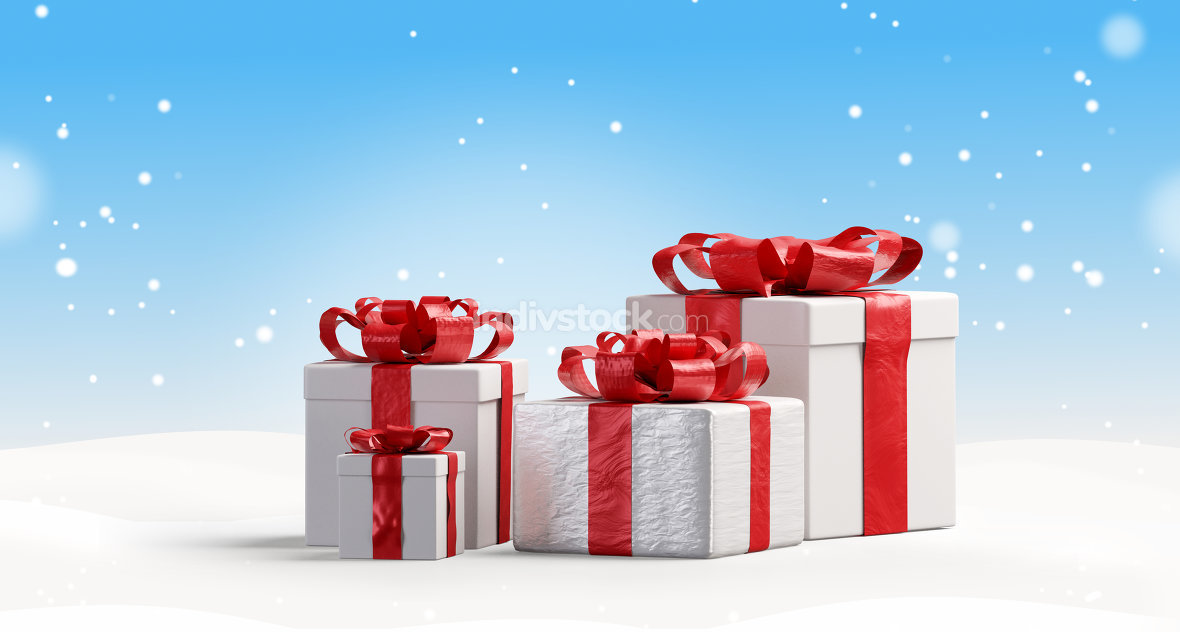 red and white Christmas presents background 3d-illustration