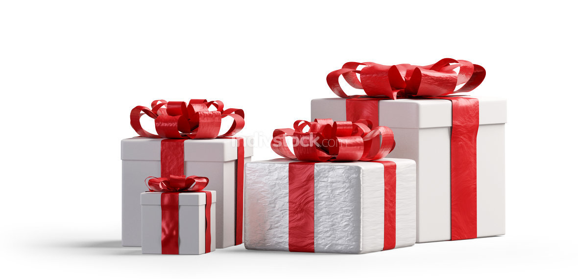 red and white Christmas presents isolated 3d-illustration