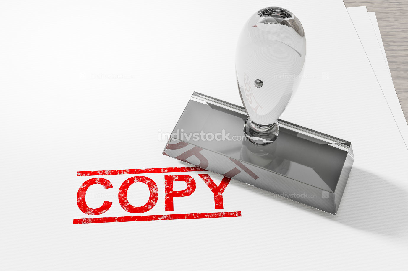red copy stamp on white paper background