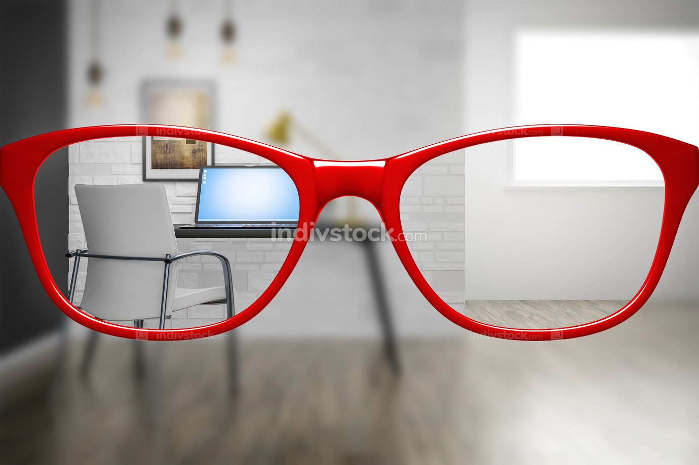red glasses with home office sharp and blurred