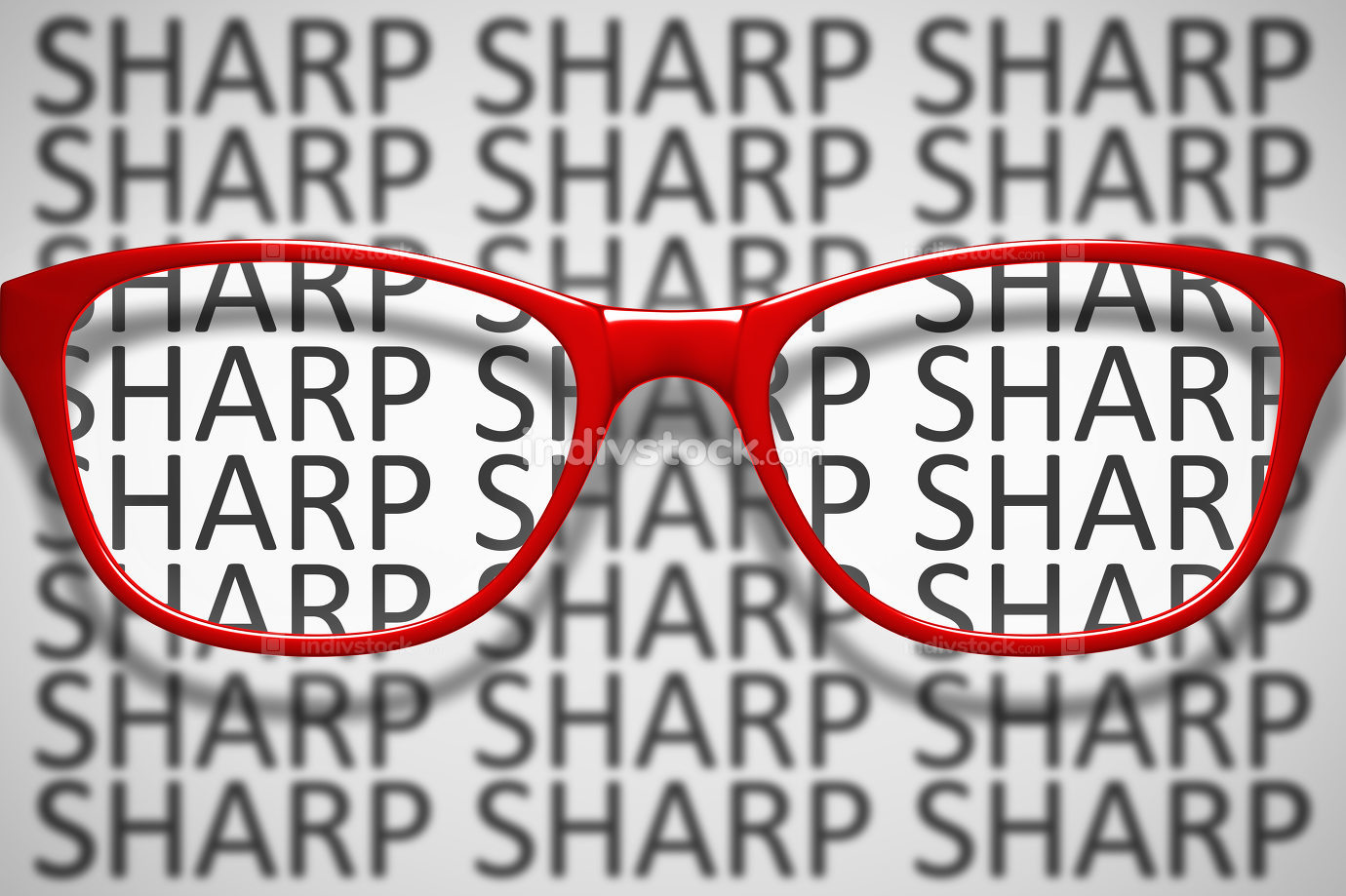 red glasses with text sharp and blurred