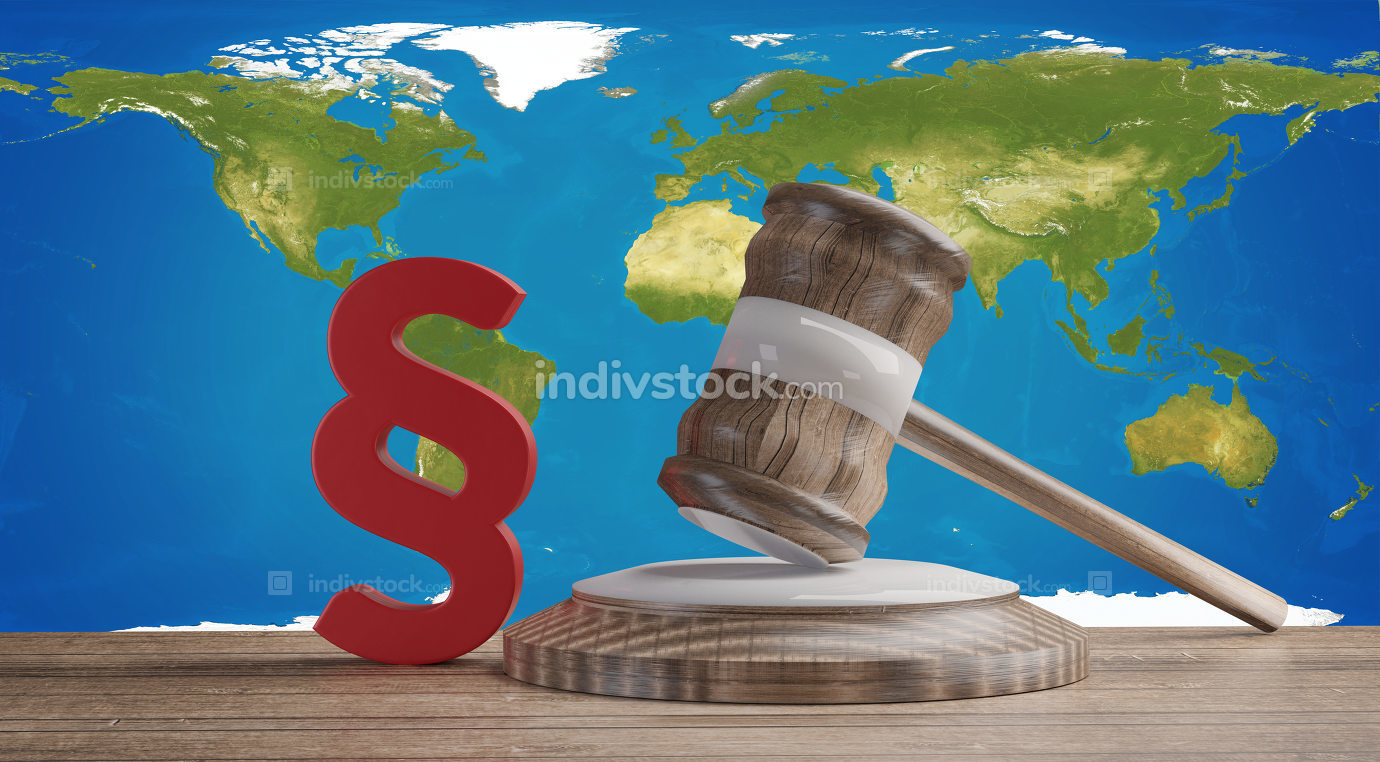 red paragraph and judge gavel in front of a world map.elements o