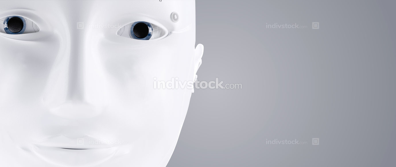 robot white head face A.I. 3d-illustration