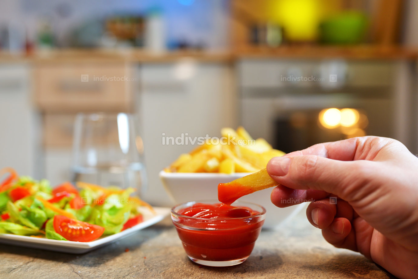 Salad and French fries