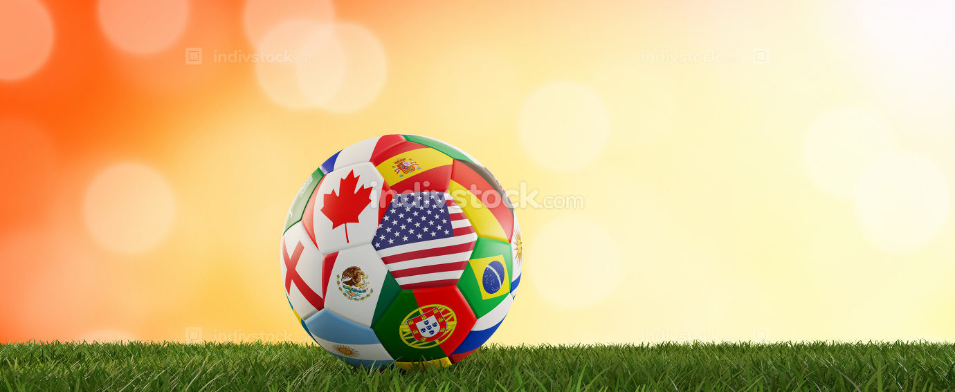 soccer ball flags design USA Canada Mexico 3d-illustration