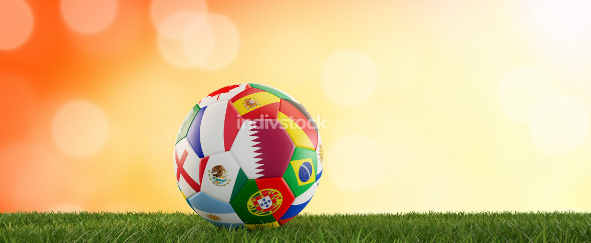 soccer ball flags design with Qatar and other 3d-illustration