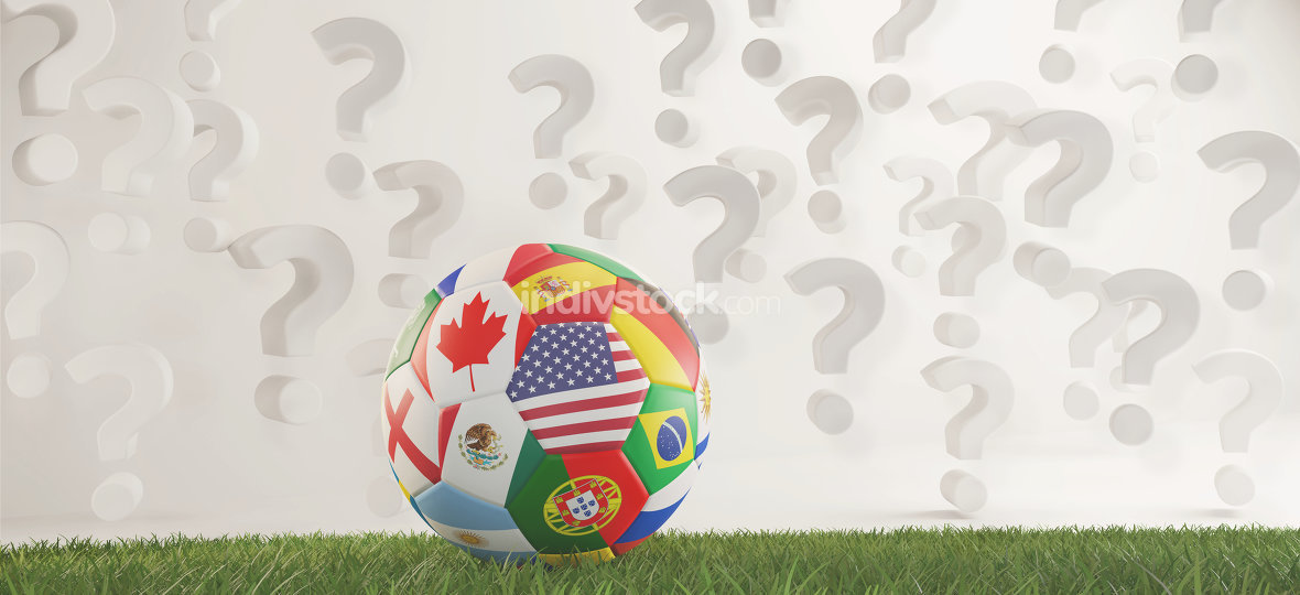soccer ball flags with question marks overlay 3d-illustration