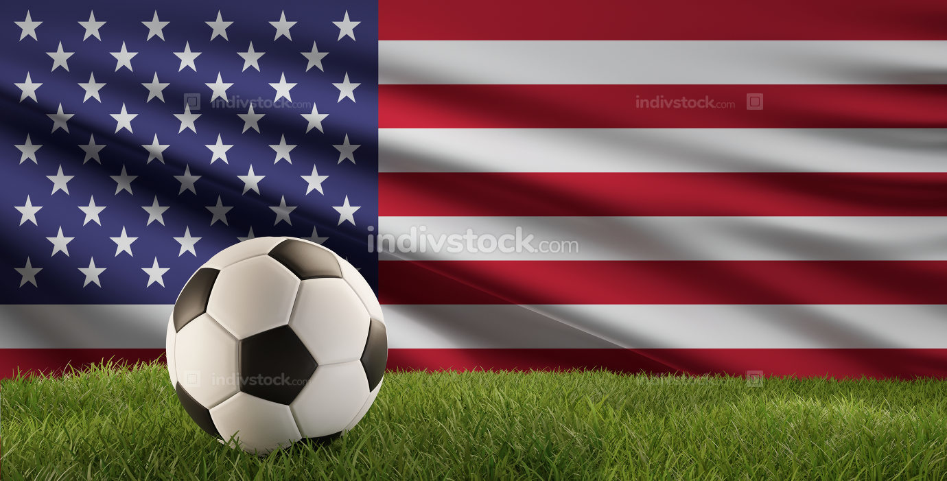 soccer ball green grass 3d-illustration and flag of America