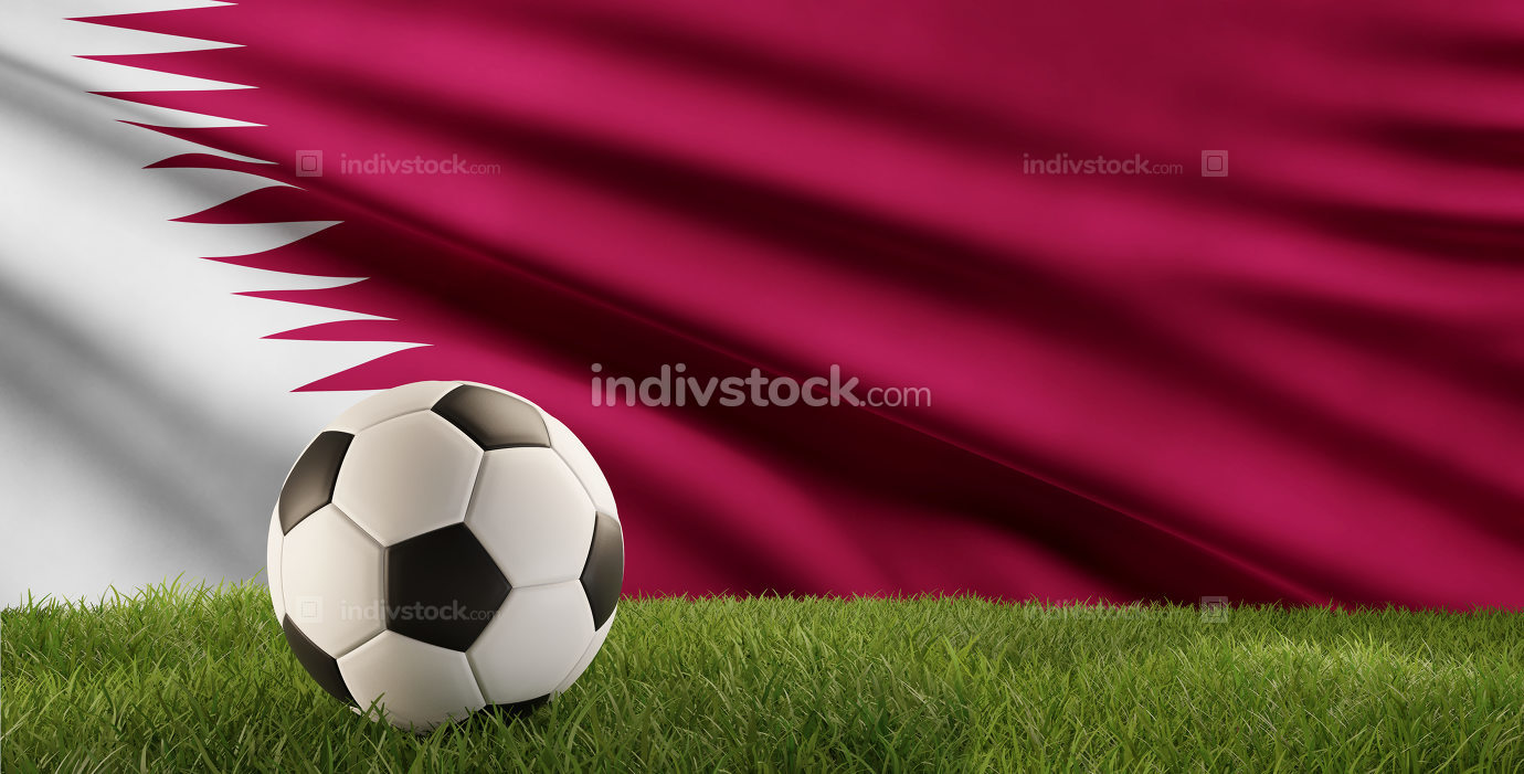 soccer ball green grass 3d-illustration and flag of Qatar