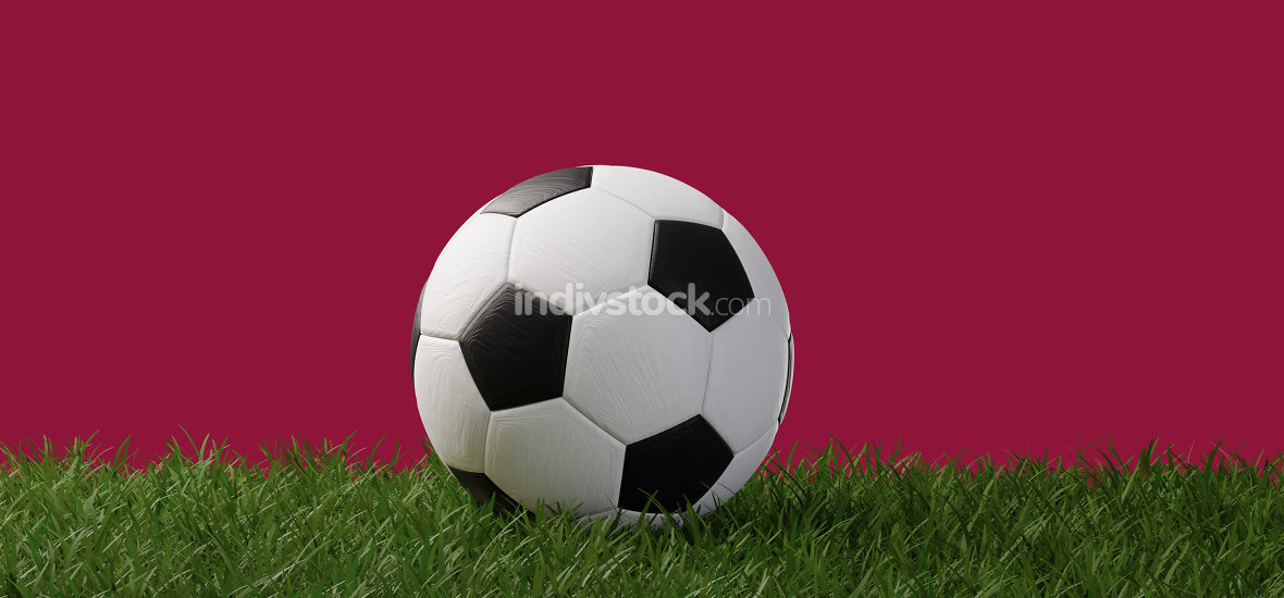 soccer ball on background of flag of Qatar 3d-illustration
