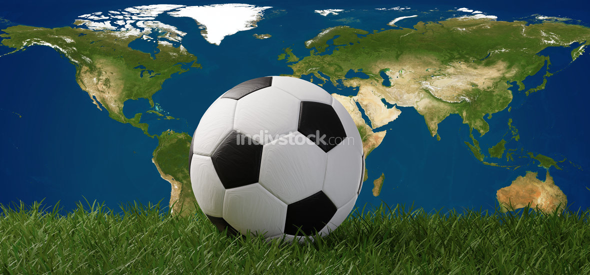 soccer ball on grass in front of world map 3d-illustration. elem