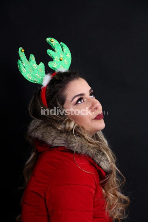 studio portrait of a girl with headband in studio,