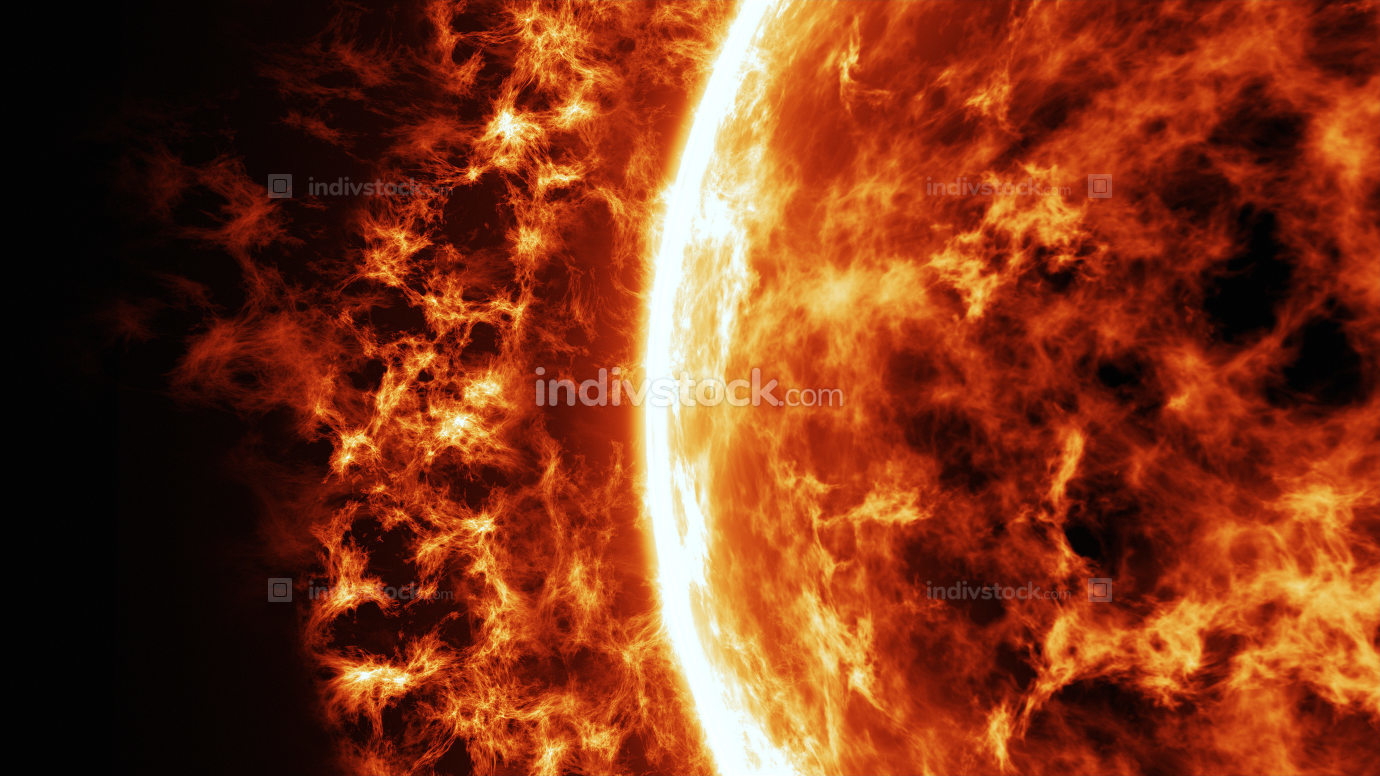 Sun surface with solar flares