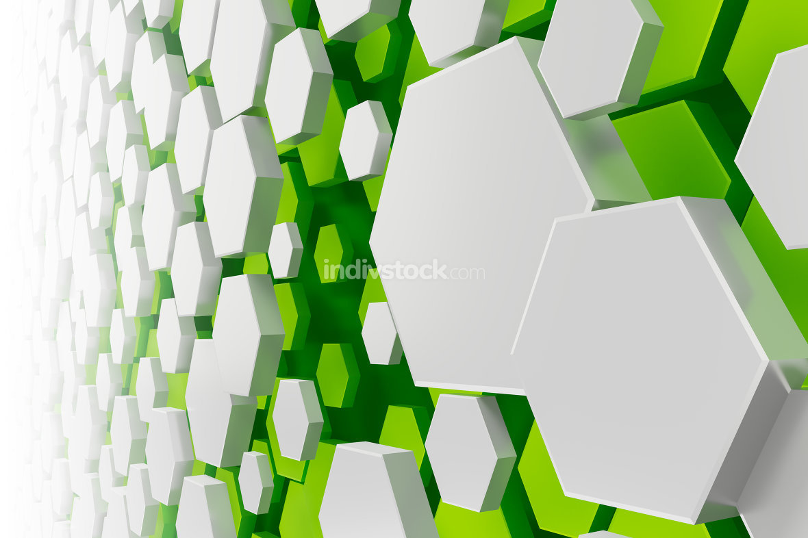 white and green hexagon background