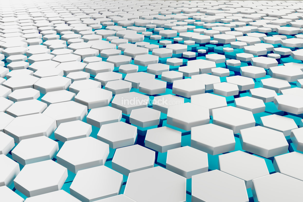 white and turquoise hexagon background
