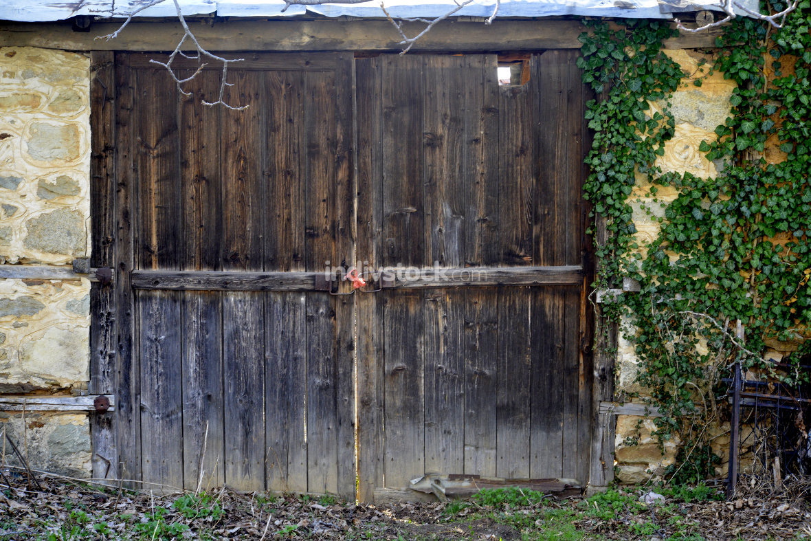 wooden door of old house in village of ljubojno, region prespa, macedonia