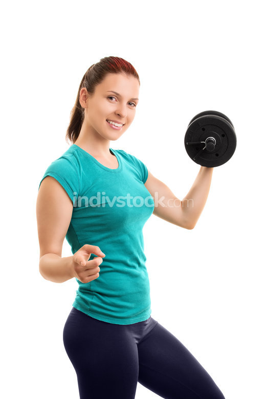 Young girl lifting weights and pointing towards you