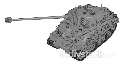 3D vector illustration on white background of a gray military ta