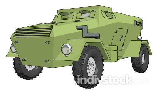 3D vector illustration on white background of a green armoured m