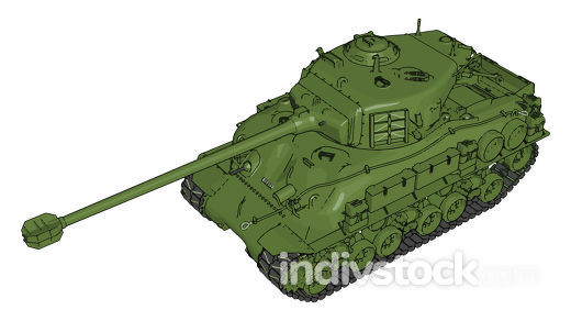 3D vector illustration on white background of a green military t