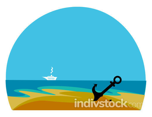 A beautiful landscape with an anchor and a sailing ship vector o