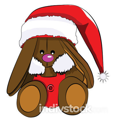 A brown bunny toy decorated in Christmas clothes vector color dr