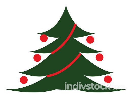 A chirstmas tree decorated vector or color illustration