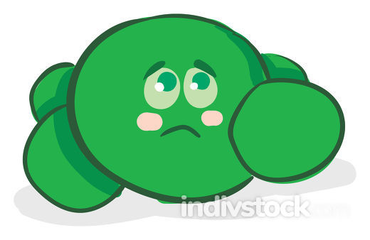 A color illustration of a woeful green peas, vector or color ill