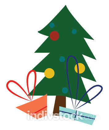 A decorated christmas tree vector or color illustration